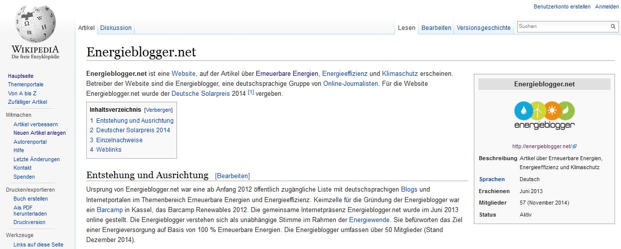 Energieblogger in Wikipedia